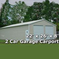 22' x 26' x 8' Two Car Steel Metal Garage Carport - Installation Included