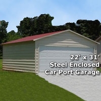 22' x 31' Fully Enclosed Carport Garage - Installation Included