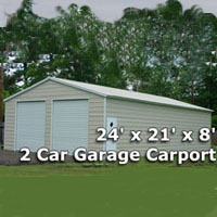 24' x 21' x 8' Two Car Steel Metal Garage Carport - Installation Included