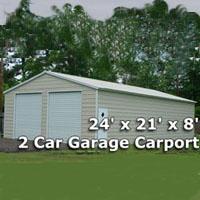 24' x 21' x 8' Two Car Steel Metal Garage Carport - Installation Included
