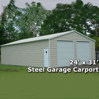 24' x 31' x 7' Steel Metal Garage Carport - Installation Included