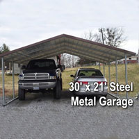 30' x 21' Steel Metal Garage - Installation Includedrport Cover with 3 Sides - Installation Included