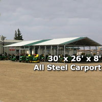 30' x 26' x 8' All Steel Carport with Vertical Roof - Installation Included
