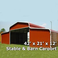 42' x 21' x 12' Horse Stable & Barn Carport - Installation Included