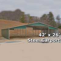42' x 26' Steel Metal Carport - Installation Included