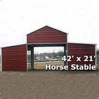 42' x 21' Horse Stable & Barn Carport - Installation Included