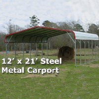 12' x 21' Steel Metal Carport Storage Building - Installation Included
