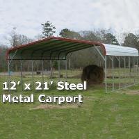 12' x 21' Steel Metal Carport Storage Building - Installation Included