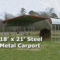 18' x 21' Steel Metal Carport Storage Building - Installation Included