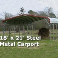 18' x 21' Steel Metal Carport Storage Building - Installation Included