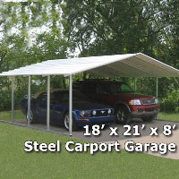 18' x 21' x 8' Steel Carport Garage Storage Building - Installation Included