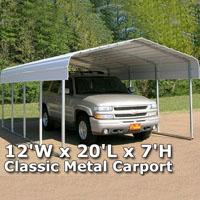 12'W x 20'L x 7'H Classic Metal Carport