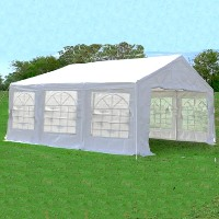 White 10' x 20' Canopy Carport Shade Party Tent