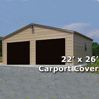 22' x 26' Fully Enclosed Steel Garage Carport - Installation Included