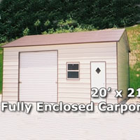 20' x 21' Fully Enclosed Carport Garage - Installation Included