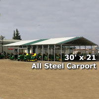 30' x 21' Triplewide Steel Carport Cover - Installation Included