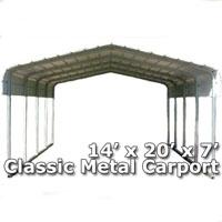 14'W x 20'L x 7'H Classic Metal Carport