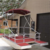 High Quality 6' x 12' Pontoon Boat w/ Bimini Top & Wrap Around Fence