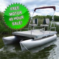 11 ft Pontoon Boat w/ Bimini Top + 2 Seats