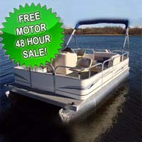 16 ft Pontoon Boat w/ Bimini Top + Steering Console + Rear Bench