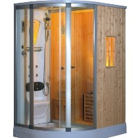 Left Corner Fully Enclosed Steam Shower w/ Sauna Room, FM Stereo & Phone Adaptor