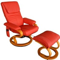 Leather PU TV recliner heated Vibrating Massage Chair W/Ottoman Red