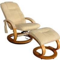 Remote Control Leather PU Heated Vibrating Massage Chair with Ottoman i3475- Coffee or Cream