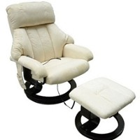 Office Heated Recliner Vibrating Massage Chair W/Ottoman Remote control