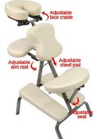 "3"" Supreme Beige Metal Portable Massage Chair"