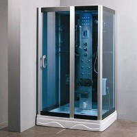 Square Shower Enclosure w/ Hydro Massage Jets & Radio