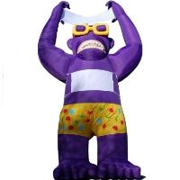 Purple Giant Inflatable Gorilla With White Banner 20' Commercial Ad With Blower