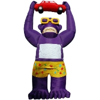 Purple Giant Inflatable Gorilla Holding Red Car 25' Commercial Ad With Blower