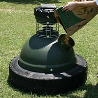 Capsule Game Feeder 250 LB Tire Feeder Perfect For Deer Horses and Fish Farms