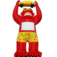 Red Giant Inflatable Gorilla Holding Yellow Car 20' Commercial Ad With Blower