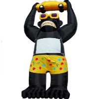 Black Giant Inflatable Gorilla Holding Yellow Car 20' Commercial Ad w/Blower