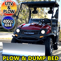 400cc 4x4 UTV With Snow Plow & Dump Bed Gas Golf Cart Utility Vehicle Snow Master GVX