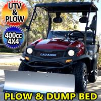 400cc 4x4 UTV With Snow Plow & Dump Bed Gas Golf Cart Utility Vehicle Snow Master GVX