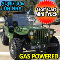Golf Cart Gas Mini Truck ELITE Edition - Lifted With Custom Rims And Fender Flares