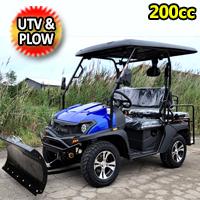 200cc UTV With Snow Plow ATV Gas Golf Cart Utility Vehicle Snow Master GVX - BLUE
