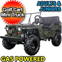Mini Gas Golf Cart - Mini jeep Truck With Lights Mirrors & Seat Belts 125cc
