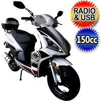 150cc Roadmaster 4 Stroke Gas Moped Scooter w/USB & Radio - Roadmaster 150cc