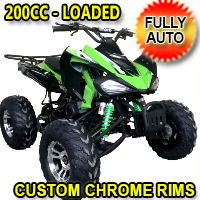 200 Atv 200cc Four Wheeler 169cc ATV 4 Stroke Air Cooled Automatic Sport Atv w/ Chrome Rims - COUGAR-SPORT-200