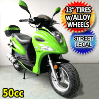 "50cc Force Fully Automatic Street Legal Moped Scooter With 13"" Tires & Alloy Wheels"
