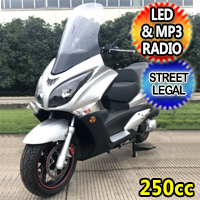 250cc GTS Street Legal Moped Scooter With LED Lights & MP3 Radio - GTS 250cc