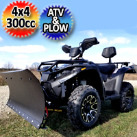 MSA 300cc 4x4 ATV With Snow Plow - Utility Style Vehicle Four Wheel Drive