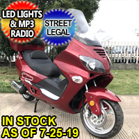 250cc Ranger Street Legal Moped Scooter With LED Lights & MP3 Radio - Ranger 250cc