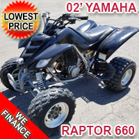 2002 Yamaha Raptor 660 Atv Four Wheeler Quad - Lowest Price!