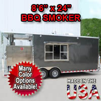 "Fully Equipped 8'6"" Wide x 24"" Long BBQ Smoker Concession Trailer"