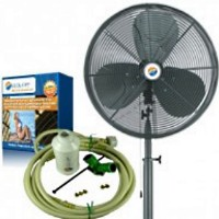 "24"" Low Pressure Oscillating Pedestal Misting Fan Kit"