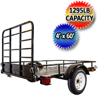 DK2 4' X 6' Single Axle Pull Behind Trailer With Drive-Up Gate & Open Side Rail
